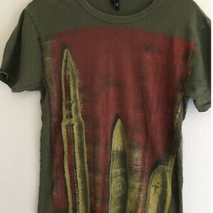 Obey Mens Tee Shirt Khaki Green With Bullet Ammo
